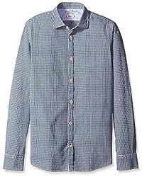 Rosé Pistol Men's Long Sleeve Victorville Mini Checked Shirt, Newport, S