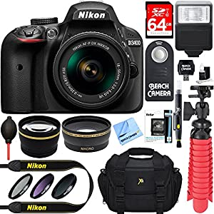 Nikon D3400 24.2 MP DSLR Camera + VR Lens Kit + Bundle 64GB SDXC Memory + Photo Bag + Wide Angle Lens + 2x Telephoto Lens + Flash + Remote +Tripod+Filters