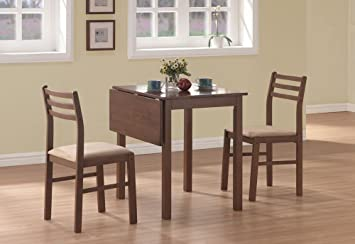 """(Set of 3) Drop Leaf Table & Chairs 30"""" Brown Wood I 1079"""