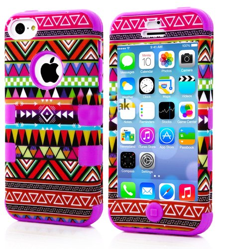 Mylife (Tm) Lavender Purple - Colorful Tribal Pattern Series (Neo Hypergrip Flex Gel) 3 Piece Case For Iphone 5/5S (5G) 5Th Generation Itouch Smartphone By Apple (External 2 Piece Fitted On Hard Rubberized Plates + Internal Soft Silicone Easy Grip Bumper