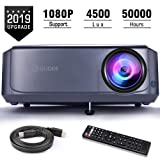 Projector, GuDee Full HD Video Projector for Business PowerPoint Presentations, 1080P Home Movie Projector for Laptop, Smartphone, Fire TV Stick, PS4, HDMI, USB (Color: Grayish Blue)