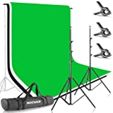 Neewer 8.5ft X 10ft/2.6M X 3M Background Stand Support System with 6ft X 9ft/1.8M X 2.8M Backdrop(White,Black,Green) for Portrait,Product Photography and Video Shooting (Color: 8.5ft X 10ft/2.6M X 3M Background Kit, Tamaño: 8.5ft X 10ft)