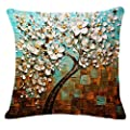 Jinbeile Oil Painting Hundreds of Birds Cotton Linen Throw Pillow Case Cushion Cover Home Sofa Decorative 18 X 18 Inch
