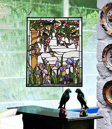 Makenier Vintage Tiffany Style Stained Art Glass Wisteria and Hummingbirds Window Panel Wall Hanging 3
