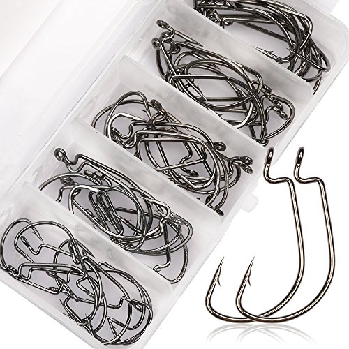 Goture Worm Jigs Nikel Fishing Hooks 51 Pcs 1# 1/0# 2# 2/0# 3/0# Carbon Steel Hook Set Kit, Best Choices for fishing lure Saltwater, Freshwater (Fishing Hooks For Bass compare prices)