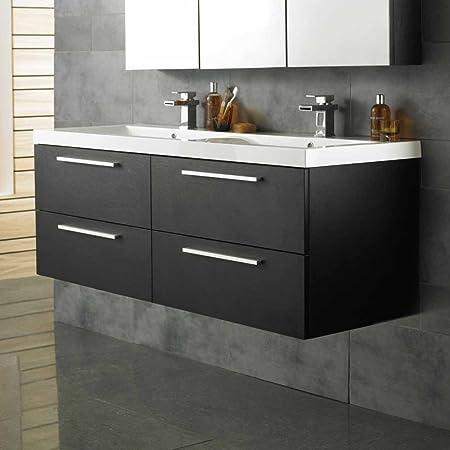 Hudson Reed - Mobile da bagno Vanity con finitura in legno nero, doppio lavabo in resina e 4 grandi cassetti a chiusura rallentata