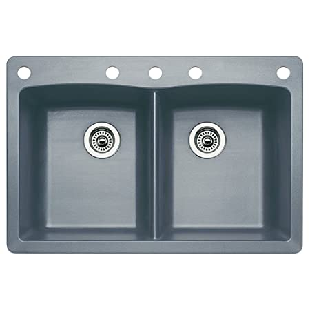 Blanco 440219-5 Diamond 5-Hole Double-Basin Drop-In or Undermount Granite Kitchen Sink, Metallic Grey