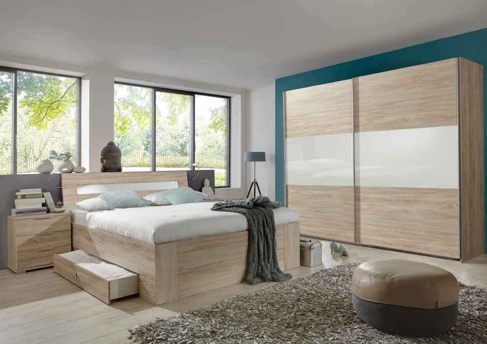 4-tlg-Schlafzimmer in Eiche Sägerau-NB mit Abs.in weiß, Schwebetürenschrank B: 270 cm, Bett mit Schubkästen B: 180 cm, 2 Nachtschränke B: 52 cm günstig