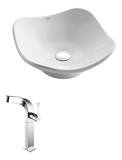 Kraus C-KCV-135-15100CH White Tulip Ceramic Sink and Typhon Faucet Chrome