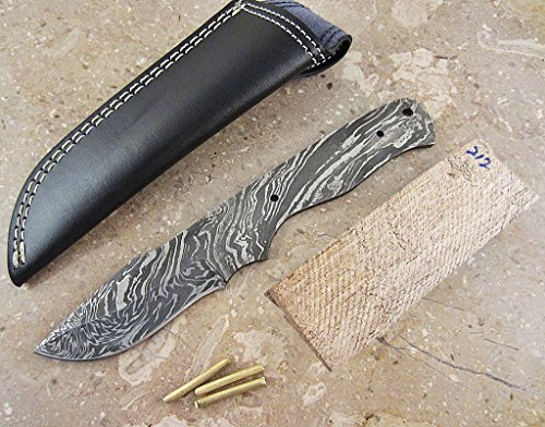Damascus Knife Kit | High Quality Custom Handmade Damascus Steel Full Tang Blank Blade with Brass Pins, Leather Sheath, Exotic