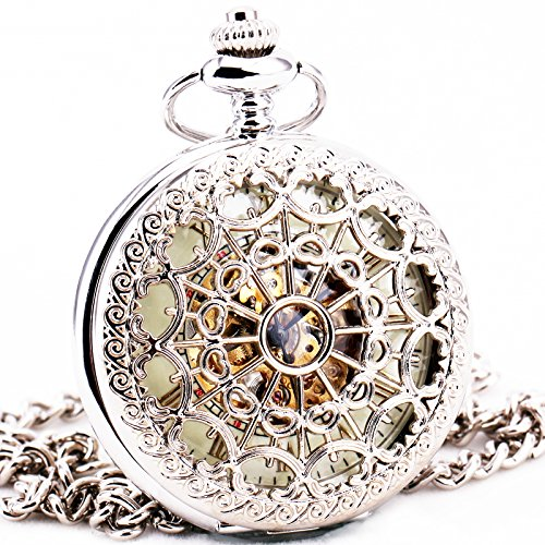 Delicate-Silver-Stainless-steel-Unisex-Baroque-Womens-Automatic-Mechanical-Pocket-Watch-Hollowed-Lid-Chain