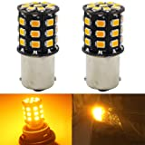 2-Pack 1156 BA15S 1156NA 7506 1141 1003 1073 Extremely Bright Amber / Yellow Non-Polarity LED Light 10-30V-DC, 2835 33 SMD Car Replacement For Turn Signal Lamps Tail BackUp Parking Bulbs
