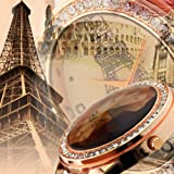 New Crystal Eiffel Tower Lady Women Girl Black Leather Quartz Wrist Watch Gift