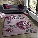 Maria Bloom Mauve Purple & Grey Flower Pattern Extra Large Modern Home Floor Rug 160x230cm