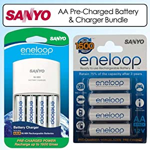 Sanyo Eneloop AA/AAA 4 Position Charger And 4 Rechargeable AA Batteries With Eneloop Rechargeable AA Battery 4 Pack