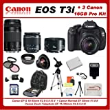 Canon EOS Rebel T3i 3 Lens Pro Kit Featuring Canon 18-55mm IS Lens + Canon EF 75-300mm III Lens + Canon Normal EF 50mm f/1.8 II Autofocus Lens, Also Includes