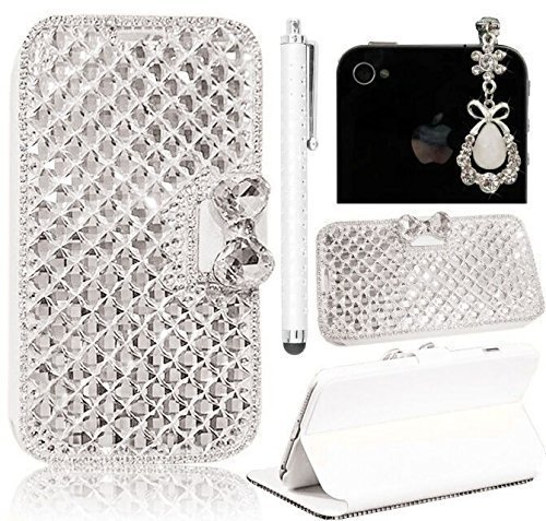 Sunroyal 3D Bling Crystal Magnetic Bowknot Synthetic Leather Card Pockets Wallet Case for iPhone 5C/5/5S(Silk Grain,Square Diamond Edge)+White Gemstone Jewelry Dustproof Pendant+Metal Touchscreen Pen (5c Phone Case Gems compare prices)