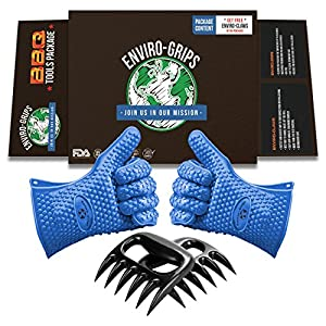 Enviro Grips Premium Cooking Gloves Heat Resistant - 5 Out of 5 Stars - Silicone Oven Mitt - Barbecue Gloves - Best Pot Holders - Enviro Claws Pulled Pork Shredder Included - Barbecue Gift Set - Meat Cleaver - Carving Fork - 4 Piece Set