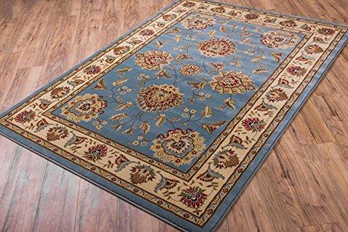 Light Blue Traditional Rug, 2-Feet 3-Inch x 3-Feet 11-Inch Oriental Carpet