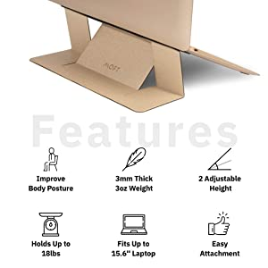 MOFT Laptop Stand, Invisible Lightweight Laptop Computer Stand, Compatible with MacBook, Air, Pro, Tablets and Laptops up to 15.6, Patented,Gold (Color: Gold)