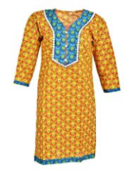 Global Women's Cotton Straight Kurta (GW01Yellow40, Yellow, 40)