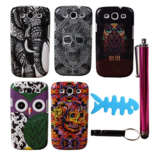 Teenitor(Tm) Samsung S3 Case #S304 Bulk Pack Of 5 Pcs Cute Cartoon Owl Elephant Animal Skull Design Hard Shield Cases For Samsung Galaxy S3 I9300 (Shipping From Usa) With Stylu, Fishbone Earphone Cable Organizer,Whistle