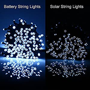 [Rechargeable Battery Included]Battery Operated Christmas String Lights with Timer,easyDecor 200 LED 72ft White 8Mode Waterproof Decorative Fairy light for Halloween,Outdoor,Indoor,Party,Xmas Tree