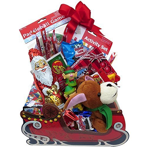 Best Prices! Great Gifts Baskets Santa's Sleigh: Rudolph Gummy Noses, Chocolate Santa, Jelly Belly, ...
