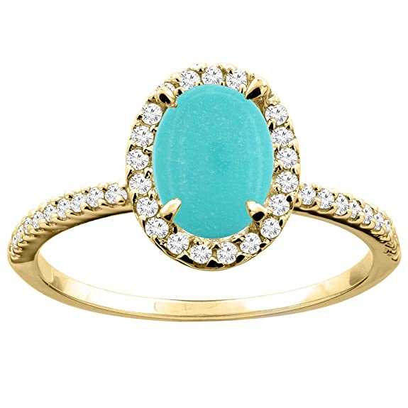 14ct Yellow Gold Natural Turquoise Ring Oval 8x6mm Diamond Accent 7/16 inch wide, size Q