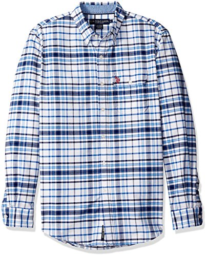 U.S. Polo Assn. Men's Long Sleeve Plaid Oxford Cloth Button Down Woven Shirt