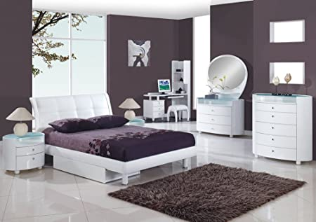 White Bedroom With Dark Furniture