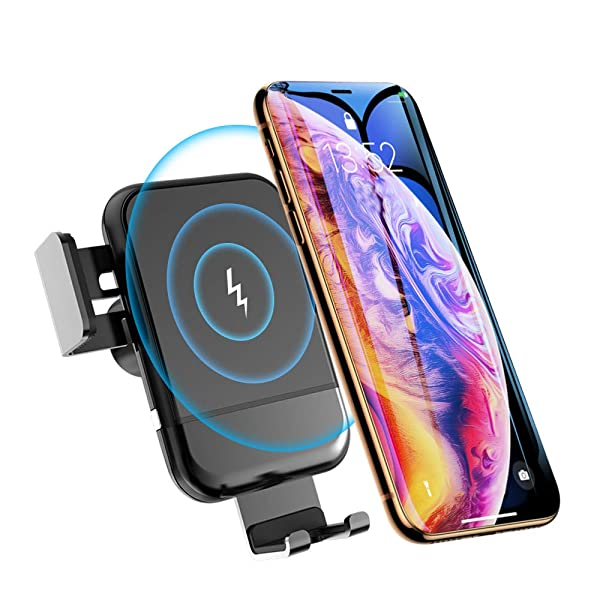 Wireless Car Charger, 10W QI Car Mount Air Vent Phone Holder,Gravity Fast Charge Compatible for Samsung Galaxy S9/S9??,Compatible for iPhone Xs/M