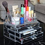 "Ohuhu® Makeup Cosmetics Organizer Acrylic Transparent 3 Drawers Storage Box / Acrylic Makeup Organizer, 9.4"" X 7.5"" X 5.9"" - Perfect Gift for Valentine's Day / Mother's Day / Wedding Anniversary / Birthday"
