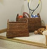 Napa Home & Garden Rattan Narrow Magazine Baskets, Set of 2