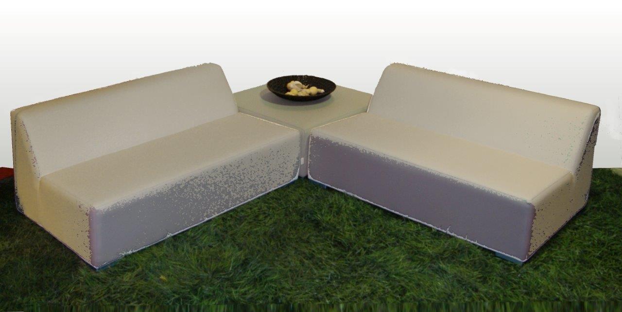 WOHNWERK! Lounge Möbel Serie MOOD! 3er Set - Absolut witterungsbeständig - (Grau, Material Stoff) Outdoor