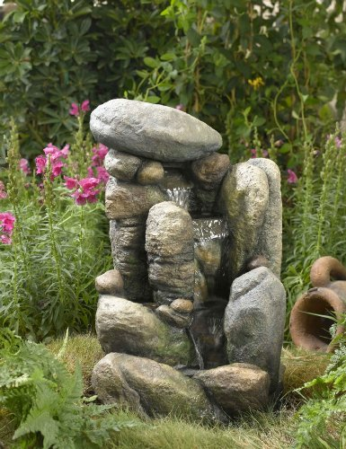 River Rock Outdoor/Indoor Water Fountain With LED Light