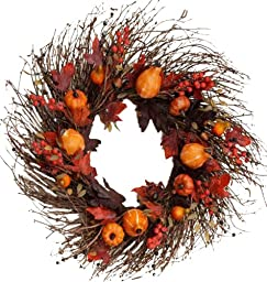 Your Hearts Delight Gourds Berries Acorns Wreath, 30-Inch