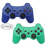 Autker PS3 Controller Wireless 2 Pack Playstation 3 Controller Double Vibration Bluetooth Dualshock 3 for PS3 with 2 Charging Cable (Blue+Green) (Color: Blue+Green)