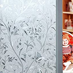 Aingoo Orchid Floral Premium No Glue 3D Static Decorative Frosted Privacy Window Film For Glass