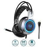 SOMIC G951 USB Plug Stereo Sound Gaming Headset for PC, PS4, Laptop, with Vibration Bass,Mic &RGB LED Lights (Black) (Color: Black, Tamaño: Medium)
