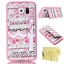 buy Galaxy S6 Case,Galaxy S6 Tpu Case,Mt-Mall(Tm) For Samsung Galaxy S6 Kickstand Soft Tpu Protective Case Triangle Pattern With Credit-Card Slot