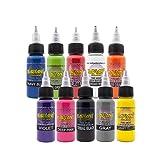 RADIANT COLORS 10 Color Tattoo Ink Set 1/2oz Bottles Kit Pigment MADE IN USA