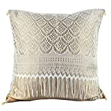 NAVA Modern Deluxe Golden Pearl White Tassel Lace Decorative Pillowcase Cushion Cover