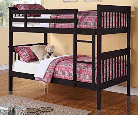 Twin Over Twin Bunk Bed in Black Finish