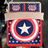 Dream Home Super Hero Captain America Fitted Sheet Style Bedding Sets, Queen