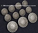 Metal Silver Toned Shank Blazer Sport Coat Button Set ~GEOMETRIC PATTERN~