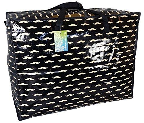 Grand sac de rangement de 65 litres. Motif de moustache noire. Jouets, lavage et sac à linge