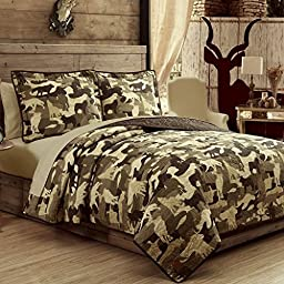 100% Cotton 3pc FULL/QUEEN SIZE Camouflage Wolves Quilt Set