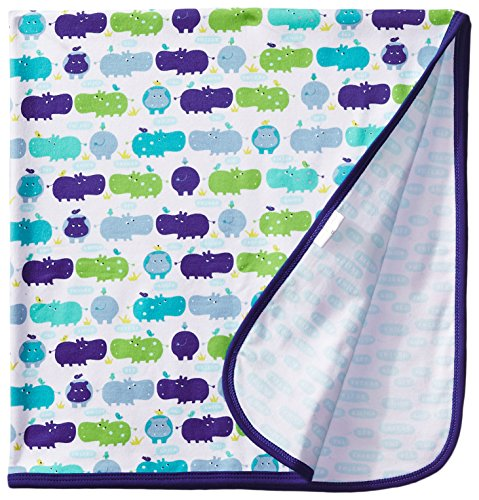 Magnificent Baby Baby-Boys Newborn Reversible Blanket, Boy Hippo, One Size - 1
