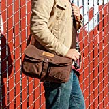 GEARONIC TM Men's Vintage Canvas Leather Satchel School Military Shoulder Messenger Crossbody Hiking Bag - Coffee